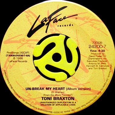 TONI BRAXTON / UN-BREAK MY HEART (45's)                                    [24200-7]