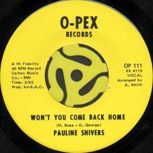 画像1: PAULINE SHIVERS / WON'T YOU COME BACK HOME b/w YOU'RE A DEVIL (45's) (1)