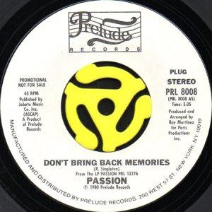 画像1: PASSION / DON'T BRING BACK MEMORIES (45's) (WHITE PROMO) (1)