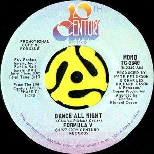 画像1: FORMULA V / DANCE ALL NIGHT (45's) (PROMO) (1)
