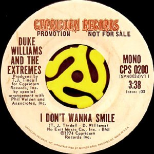 画像1: DUKE WILLIAMS AND THE EXTREMES / I DON'T WANNA SMILE (45's) (1)