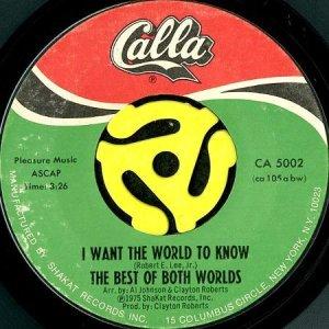 画像1: THE BEST OF BOTH WORLDS / I WANT THE WORLD TO KNOW b/w MOMA BAKES BISCUITS (45's) (1)
