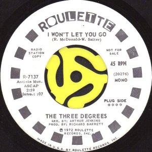 画像1: THE THREE DEGREES / I WON'T LET YOU GO (45's) (WHITE PROMO) (1)