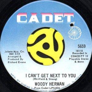 画像1: WOODY HERMAN / I CAN'T GET NEXT TO YOU b/w IT'S YOUR THING (45's) (1)