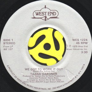 画像1: TAANA GARDNER / WE GOT TO WORK IT OUT (45's) (1)
