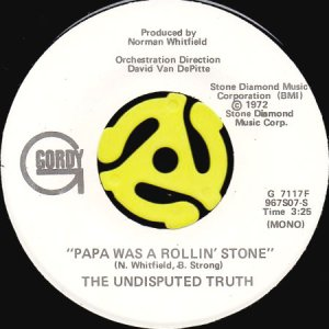 画像1: THE UNDISPUTED TRUTH / PAPA WAS A ROLLIN' STONE (45's) (WHITE PROMO) (1)