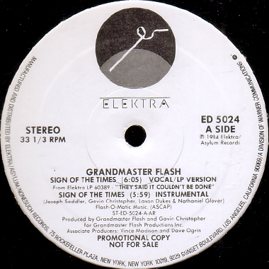 grandmaster flash sign of the times b w larry s dance theme